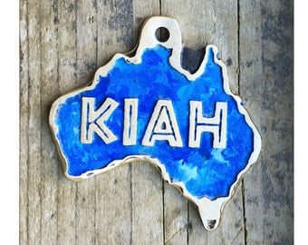 Custom Cut Australia Shape Pet ID Tag, Etched Brass Dog Tag with Color