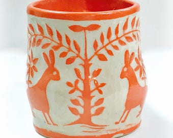 In STOCK! Sgraffito Otomi Design MUG Hand Built - 2 BUNNIES Rabbits, Carved Design, Trees Flowers Birds, Folk Lore Inspired