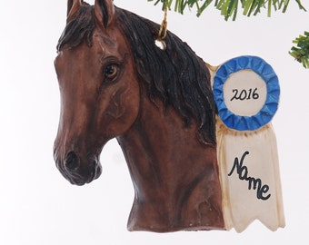 Brown Personalized Blue Ribbon Horse Christmas Ornament - Handmade in the USA from resin  - Personalized with your name free  (305)