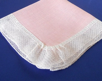 Vintage Pink Fine Linen Handkerchief with Dotted Lace Edging, Heirloom Sewing, Doll Costuming