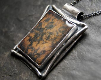 Flash of Gold - Enamel Necklace in Sterling Silver...ooak