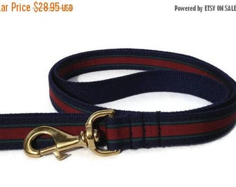 EASTER SALE The Collegiate Webbing Dog Leash in Navy and Maroon Stripe with Brass Hardware