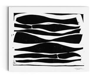 Contemporary Art - Long Modern Organic Lines Linocut Block Print - Home Decor - Linocut Block Print - Original or Digital Print