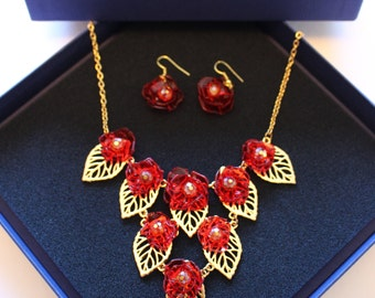 Gold bib necklace, red flowers, scarlet roses, dangling earrings, set, hand crafted, wearable art, glass, crimson, gift for her