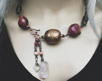 Big copper bead, rose quartz, seeds and vintage chord necklace | African copper bead, rustic tribal, boho tribal