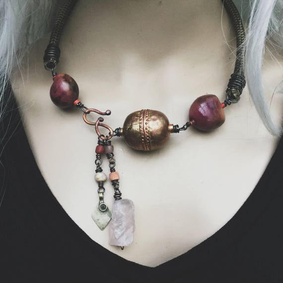 Big copper bead, rose quartz, seeds and vintage chord necklace   African copper bead, rustic tribal, boho tribal