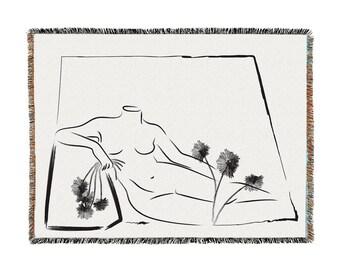odalisque with flowers / minimalist throw blanket