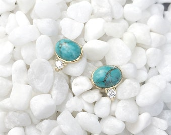 NEW Orb Earstuds - African Turquoise Earrings, Bridesmaids Gift, Gifts for Her