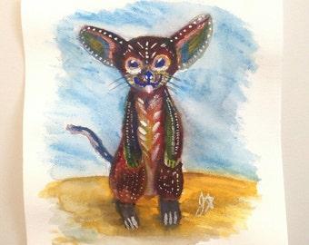 Original Painting of a Fennec Fox, Meerkat, nursery art, acrylic,canvas,gouache