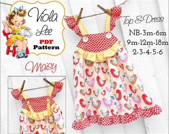 Maisy Toddler Dress Sewing Patterns, Girls Dress Patterns, pdf Sewing Patterns for Girls, Girls Top Patterns. Baby Top Patterns. Infant Top.