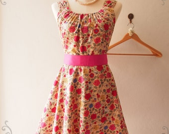 USD20 SALE- Floral Vine Brown Vintage Floral Dress Floral Sundress Bridesmaid Dress Floral Tea Dress Brown Skater Dress Midi Dress, XS-XL