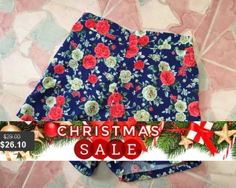 "Christmas SALE Floral High Waist Shorts Navy Red Rose Summer Shorts - Free Size Waist 26""-28"", Hip 35""-37"""
