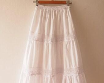 Clearance SALE Maxi Skirt White Wedding Skirt Boho Chic Bohemian Skirt Beach Long Skirt White Summer Skirt  - No.2
