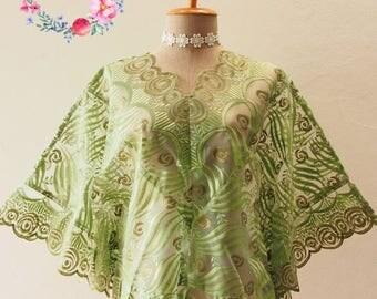 Clearance SALE Autumn Poncho, Ponchos, Green Lace Poncho, Tribal, Wrap, Aztec, Women Butterfly Blouse, Boho Poncho Bohemian Blouse