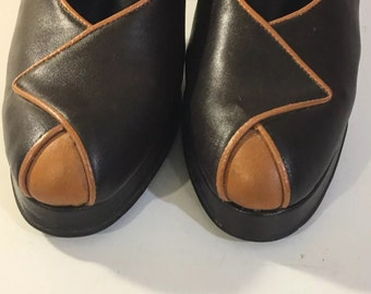 Vintage 70s Leather Platform Shoes Two Tone Italian Leather 8