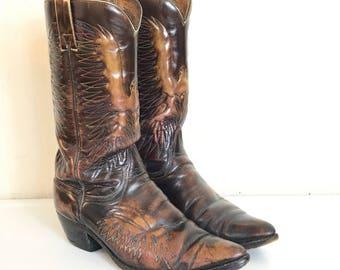 Vintage Cowboy Boots Wrangler Eagle Firebird Mens 8D  F145