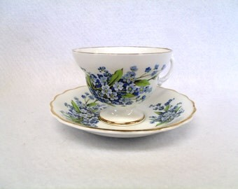 Rosina Bone China Teacup and Saucer Set, with Forget-me-nots, Gold Trim