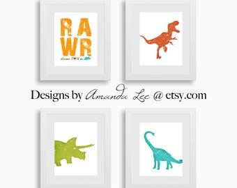 Dinosaur Art Print - Set of Four 8x10 - TRex Triceratops Brachiosaurus - Dinosaur Party - Designer Set 15