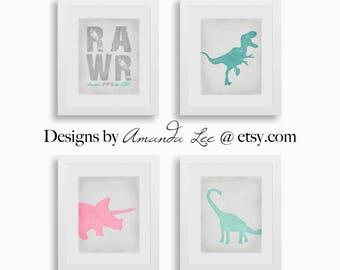Dinosaur Art Print - Set of Four 8x10 - Dinosaur Girl Art - Dinosaur Nursery - Designer Set 19