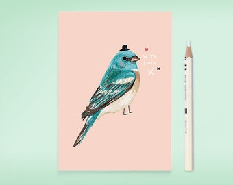 Postcard BIRDIE IN BLUE - bird drawing illustration - with love - just because - artwork