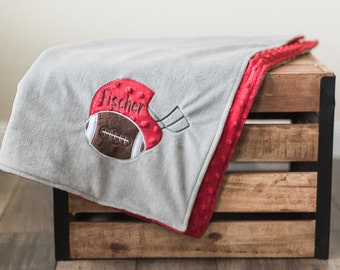 Personalized Baby Blanket, Minky Dot Grey red Ohio State Buckeyes Football, Baby Boy Girl Monogrammed Newborn shower Gift