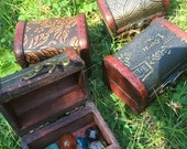 ON SALE 20 percent off Wooden Treasure Chest Box, with mixed gemstone polished crystals, crystal kit, crystal set, metaphysical, new age wic
