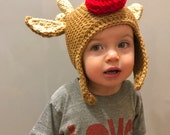 Crochet Red Nose Reindeer Hat 1-2yrs