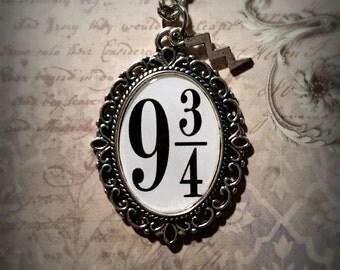 Platform 9 3/4 Harry Potter Inspired Necklace Pendant Antique Silver Lightening Bolt Charm
