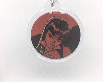 Upcycled Comic Book Keychain Featuring - Vampirella