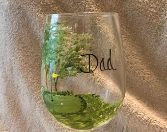 Golfers hand painted personalized wine glass for dad, grandfather, uncle, brother, in law, or with name etc.