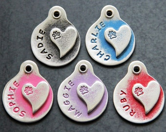 Wedding Dog Tag - Heart - Pet ID Tags - Dog Tags - Pet Tag - Dog ID Tags - Custom Dog Tag - Hand Stamped