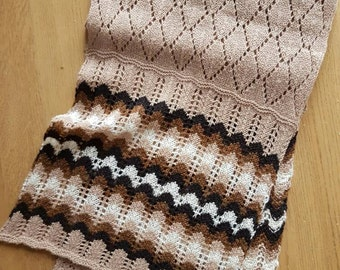 Grace; Traditional knitted lace scarf with coloured bands in fine lambswool