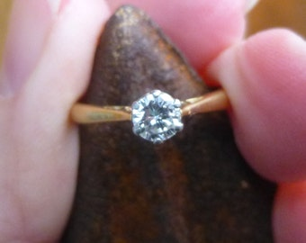 Traditional  Engagment Ring with a twist.. 18KT gold  and Platinum  28 point SI G Diamond Bridal Engagement Wedding Ring