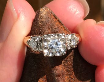 Art Deco....1940s  style 50 point total weight  Brillant  Diamond Solitiar Engagment Ring