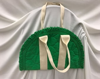 Green short two handle ruffle bag zipper padded batting quilted look upcycled