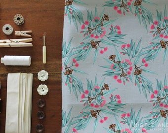 Australian Botanical Fabric Eucalyptus Leaves and Gumnuts in Bright Pink, Turquoise and Grey Printed Cotton Fabric YARDAGE | Ships from USA