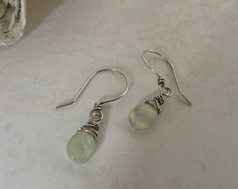 Soft Pastel Green Prehnite Briolette Stone Sterling Silver Earrings