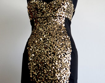 CLEARANCE Dress , GLAM Gold Beaded Sequin Dress , Gold Sequin Dress , Bright Iridescent Gold Embellished Dress