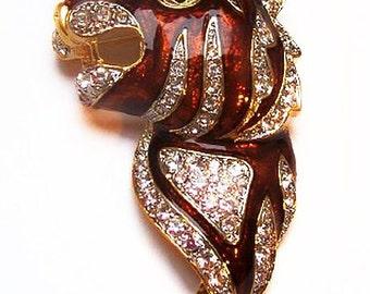 """Tiger Head Brooch Rhinestones Mink Brown Enamel Gold Metal 2 1/2"""" Vintage"""