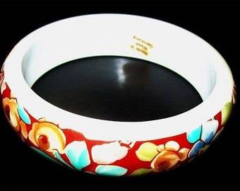 "Flower Bangle Bracelet W Germany Red White Thermoset 3/4"" W Boho Vintage"