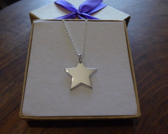 Silver Star Pendant Necklace, Handmade