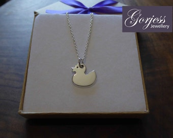 Rubber Duck Silver Pendant Necklace