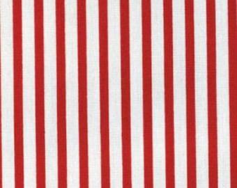 Fat Quarter -- Kiyohara -- Red with White Stripes--100% Cotton Fabric