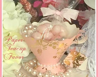 Paper Teacup Favors, Teaparty Wedding Bridal Baby Birthday Shower Party Supplies, Pink and Gold Favors, Brunch Teaparty, Candy Cups, Tea