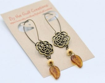 Dangle Floral Earrings, Antique Bronze, Czech Glass Beads, For her