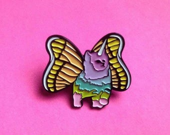 Rainbow Butterfly Unicorn Kitten / Enamel Pin / Spring