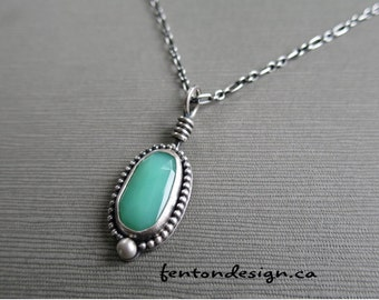Chrysoprase Necklace, Sterling Silver Necklace, Beaded Pendant, Rosecut Chrysoprase, Artisan, Handmade Necklaces, One of a kind, Etsymetal