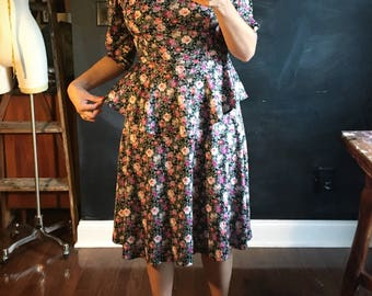 Vintage Floral Peplum dress from Tabby of California