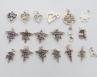 Add a CHARM, Medical Charms: OT, Pt, Np, Bsn, Lpn, Lvn, Stethoscope charm, Rn, Pa, Da, Dh, Medical Caduceus, Md, Rx, Pharmacy Tech, Emt