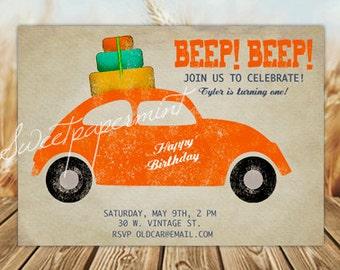 Car Birthday Invitation Red Vintage - Customizable - Digital Printable Card Cards